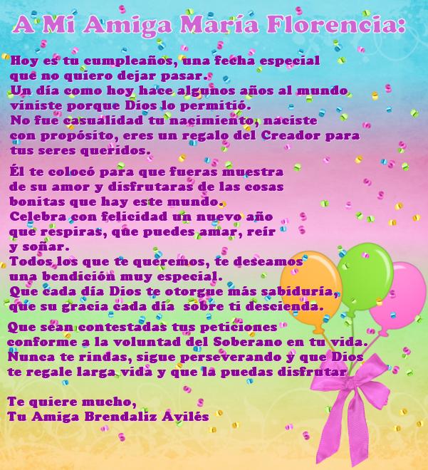 Brendaliz Avilés: Sitio Oficial: A MI AMIGA MARÍA FLORENCIA EN SU ...