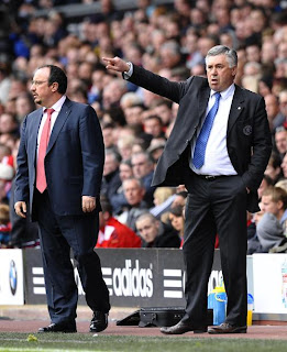 Chelsea manager Carlo Ancelotti and Liverpool manager Rafael Benitez