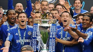 Chelsea players with the 2009-10 title