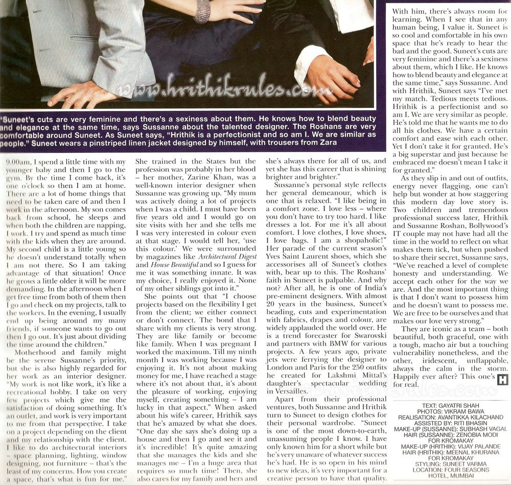 , Hrithik Roshan Sussanne Roshan Scans from Hello Magazine November  2008 Edition.