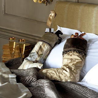 elegant golden stockings and presents