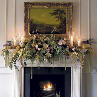 elegant holiday style fresh flower mantelpiece decorations