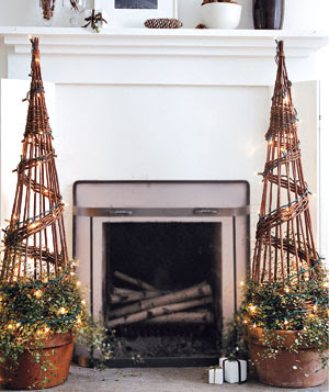 twiggy natural holiday style topiaries