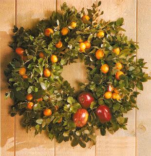 fresh orange and apple holiday wreath