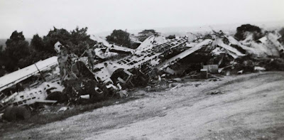 World War II 2 Okinawa plane graveyard with soldiers