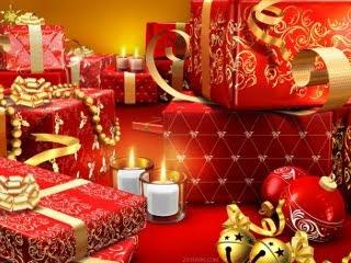 Pokloni, ukrasi, baloni i svijećice za Božić download besplatne slike pozadine za mobitele