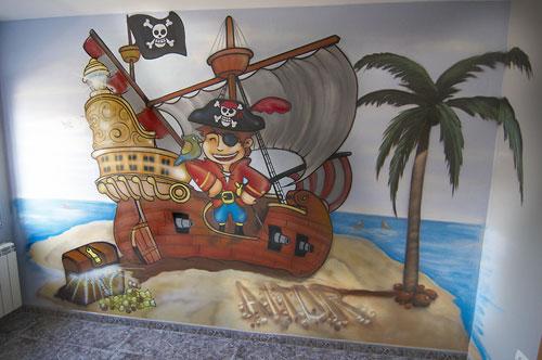 Foto del mural infantil pirata para la decoración de una habitación