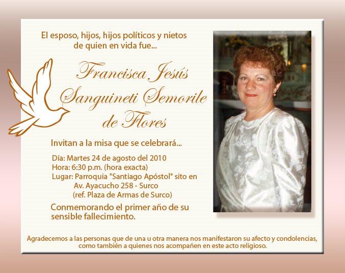 Una Invitacion Para Misa De Difunto