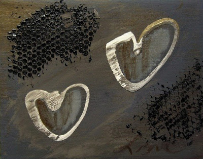 image of gray white painting heart lizardo art
