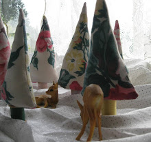 vintage fabric tree, wood spool