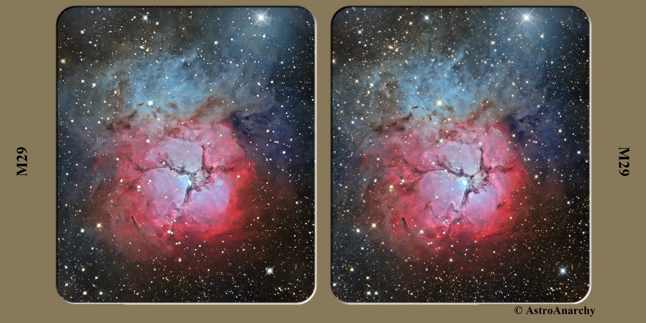 M20 the triffid nebula as a 3d stereo pair new version