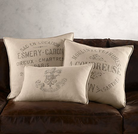 Throw Pillows Rust : Designing Bliss: Spend or Save? Vintage French Linen Pillows