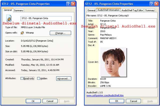 AudioShell Tag Editor Mp3 (edit tag,foto,artis dalam mp3)