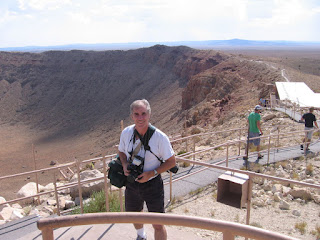 Gene Hanson at the observation platform of Meteor Crater