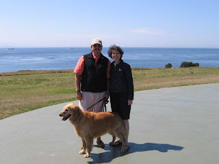 Susan, Charlie and me on top of the Fort Casey ramparts
