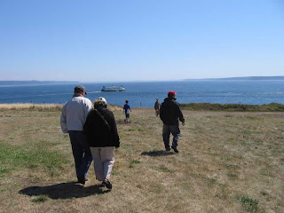 Walking toward the stairs to the beach at Fort Casey