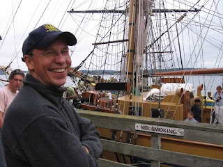 John on the wharf in front of the Hawaiian Chieftain