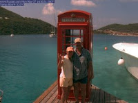The British phone booth Web cam at Marina Cay's fuel dock. Thanks, Pusser's!