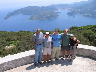 The Odyssey: Group shot overlooking Vathi harbor on Ithaca