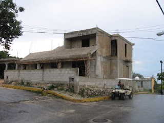 Front of Juan Gomez Chan's under-construction house on Isla Mujeres