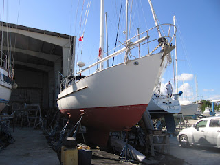 Otter II, a 1979 Valiant 40 centerboard model, at the Riverside Boatyard in Fort Pierce, Florida