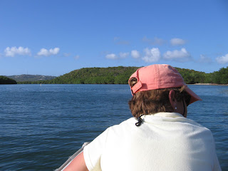 Nan checking out Bahia Mosquito from the dinghy prior to our night excursion