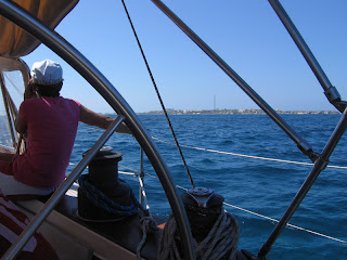 Approaching Isla Mujeres, with Garrafon Park's tower visible