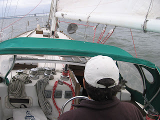 Sailing Little Walk, my Valiant 40, toward the William Preston Lane Jr. Memorial Bridge