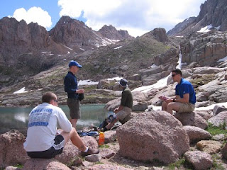 Miles, Wes, Rich and Rich at Twin Lakes, with Sunlight Peak and Windom Peak in the background