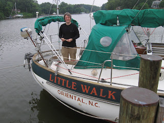 Kevin aboard Little Walk at Tony's dock