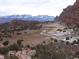 The Hidden Valley trail, with the La Sal Mountains in the distance