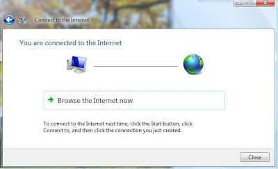 You have successfully created a Dial-up Connection in Windows Vista