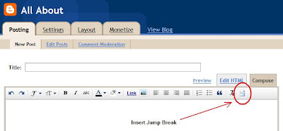 Insert Jump Break Button in new post editor