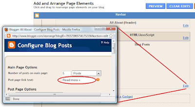 How to change Read More text link in Blogger