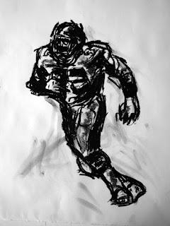 Too Tall Jones Art, Charcoal Drawing, Sports Art, Sport Art