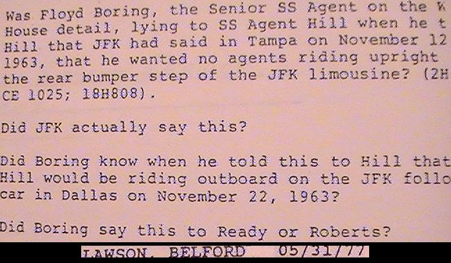 The HSCA's Belford Lawson was suspicious of Floyd Boring