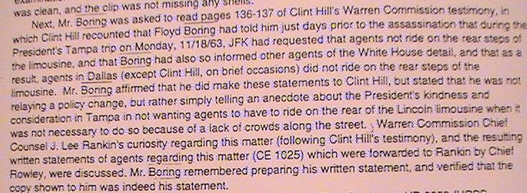 "Boring now tells the ARRB that JFK didn't order the agents but showed ""kindness"""