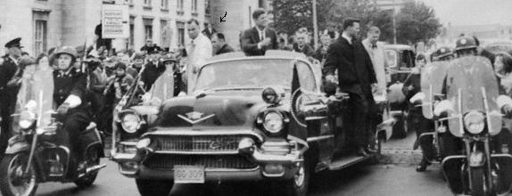 agents, including Blaine, on the car, Ireland, June 1963