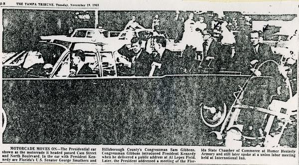 11/18/63: agents on rear of car, fast speed, Tampa, FL