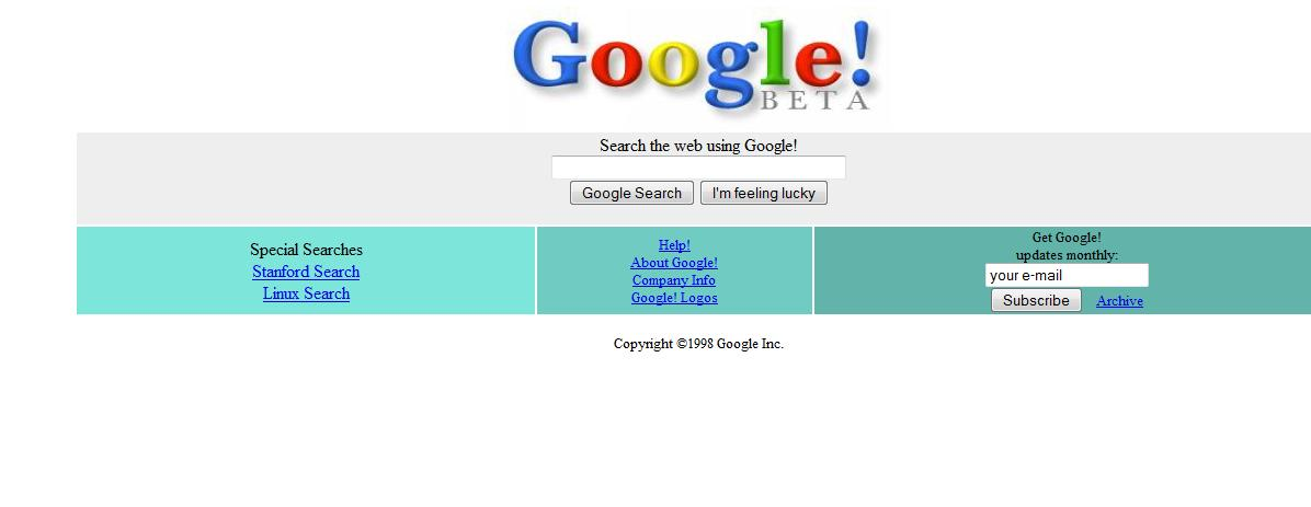 google 1998. Google Web page in 1998:
