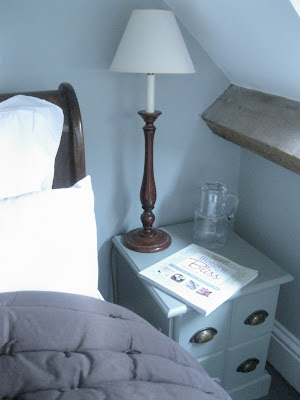 Farrow and Ball Pigeon and Farrow and Ball Light Blue bedroom paint