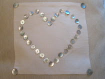 Piped Button Heart Cushion