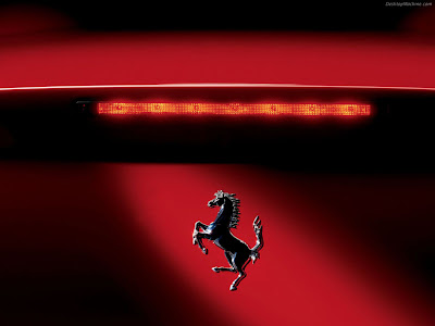 black ferrari logo horse with red background