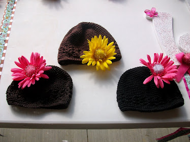 Knit Hats with Flowers