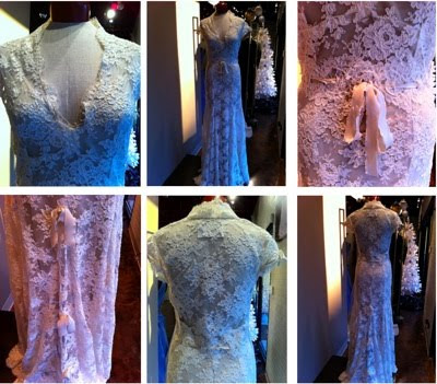 The dress is full reembroidered lace The neck line has a raised collar and