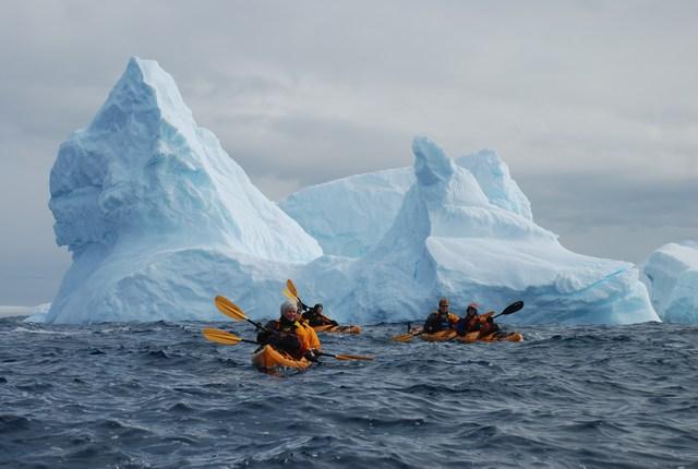 Sea kayaking with Louise behind Petermann Island, Antarctic Peninsula.