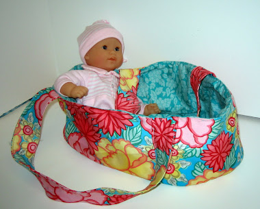 Fabric Doll Carrier/Basket/Moses Basket with Quilt