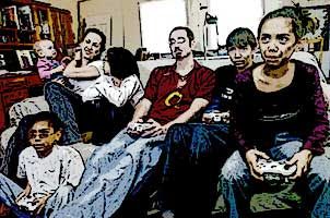Family gaming together