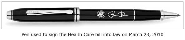 pen used to sign Health Care bill