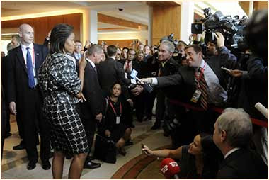 Michelle Obama with press in Copenhaghen